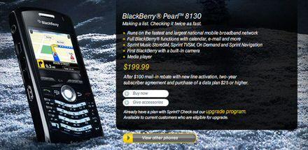 Sprint BlackBerry Pearl 8130 price