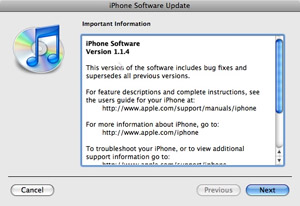 Apple iPhone v1.1.4 firmware update