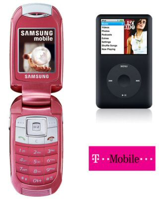Samsung E570 Pink with FREE 80GB Apple iPod Classic on T-Mobile
