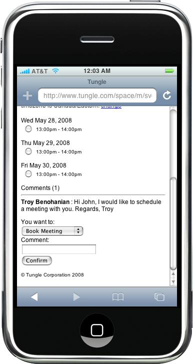 tungle-iphone meeting co-ordination business class tool