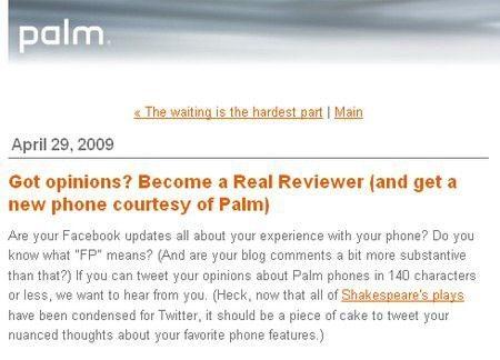 Would you like a FREE Palm Pre?
