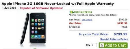 Unlocked Apple iPhones for $800 from Buy.com?