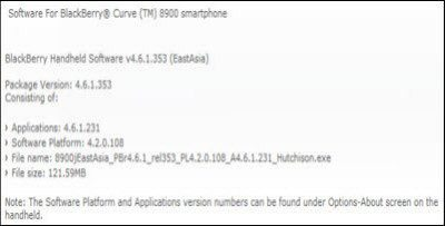 BlackBerry Curve 8900 Software Update: Official 4.6.1.231 OS