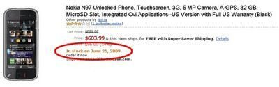 Amazon to ship Nokia N97 as of June 25th