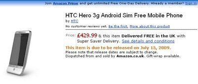 Pre-order HTC Hero at Amazon UK for £429