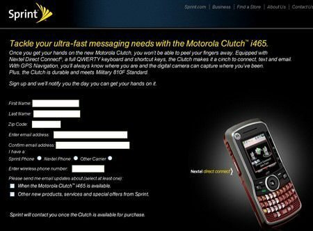 Sprint Motorola Clutch i465 price and details