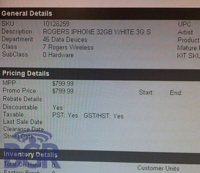 iPhone 3G S no contact pricing for Rogers and Fido