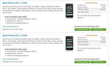 AT&T Apple iPhone 3G S Pre-order now ready