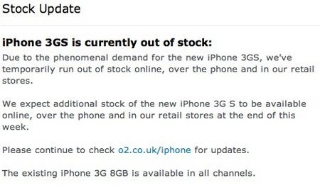 O2 UK: Apple iPhone 3GS devices all sold out, oops