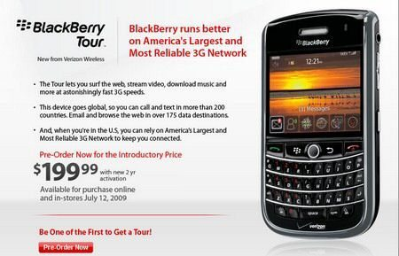 Verizon BlackBerry Tour July 12th Pre-order Page now live