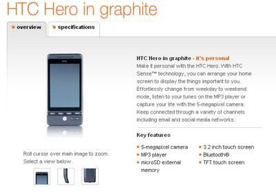 HTC Hero now selling via Orange UK