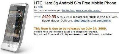 HTC Hero in European Release moved back?