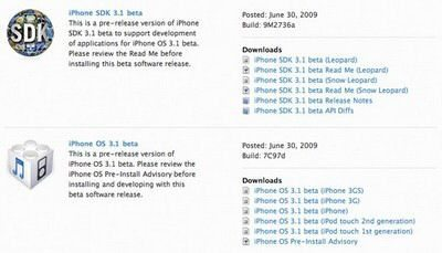 Apple iPhone OS 3.1 beta firmware for developers available