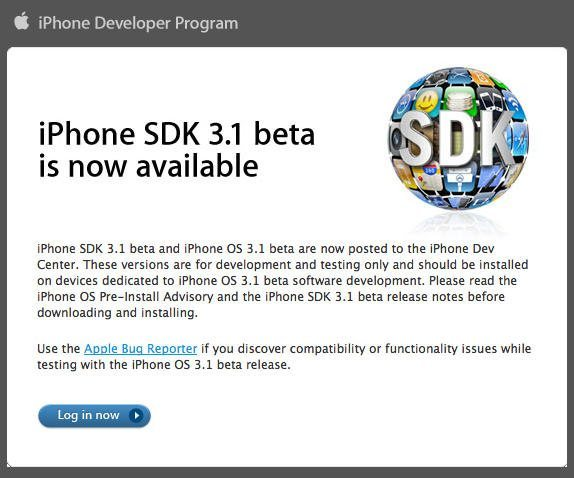 iPhone 3.1 Beta Direct Download for Developers