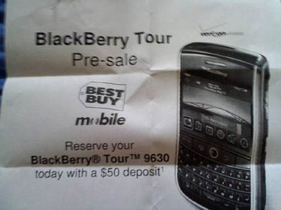 BlackBerry Tour pre-order now available with Best Buy