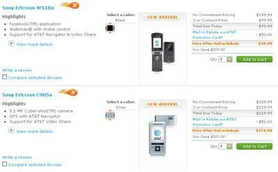 Sony Ericsson C905a and W518a now available via AT&T