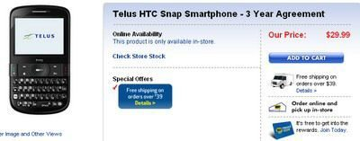 Telus HTC Snap for $30 with Best Buy Canada