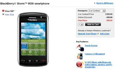 BlackBerry Storm 9530 price lowered to $99.99 by Verizon