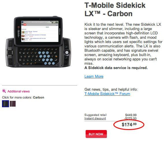 T-Mobile Sidekick LX 2009 now only a mere $175