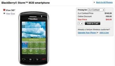 Verizon BlackBerry Storm smarphones selling for $49.99