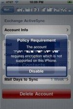 iPhone 3.1: 2G and 3G does not officially support exchange encryption email