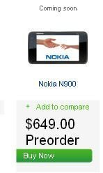 Nokia N900 up for pre-order in US for $649