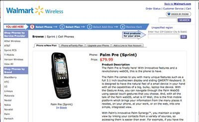 Wal-Mart offer Palm Pre for $79.99