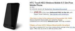 HTC Touch HD2 SIM Free on Pre-order at Amazon