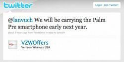 Tweet Confirms Palm Pre with Verizon early next year