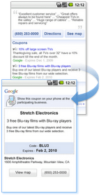Mobile Coupons via Local Search from Google