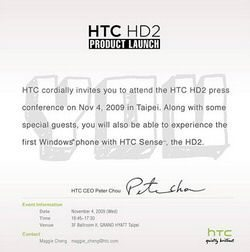 November 4th will see HTC HD2 Launch Event