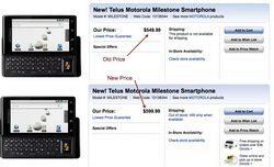 Motorola Milestone $50 price increase by Best Buy