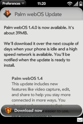 WebOS 1.4 released by Palm for Pre and Pixi