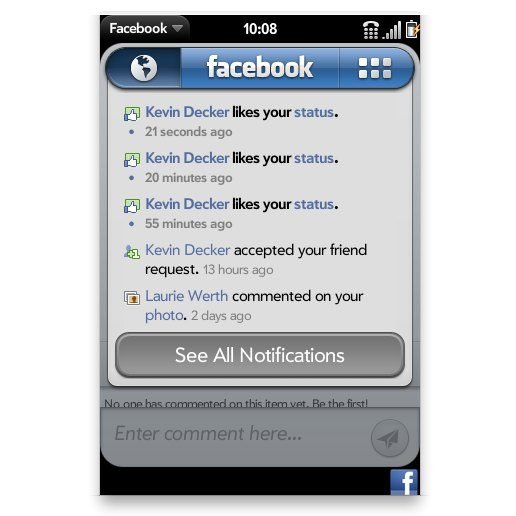 Facebook for webOS version 1.1.4 Update: Notifications and Shortcuts