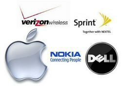 Apple, Nokia, Verizon, Sprint, Dell Stock Gains