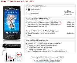 Sony Ericsson XPERIA X10 Pre-order Promo Offer from Rogers