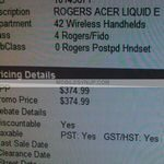 Acer Liquid e gets priced off Contract on Rogers Canada