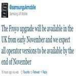 Samsung Galaxy S Android 2.2 Froyo Update Drops November