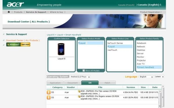 How to install the Android 2.2 (Froyo) update on Acer Liquid E