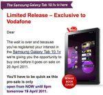 Samsung Galaxy Tab 10.1 Vodafone Australia Pre-order & Pricing