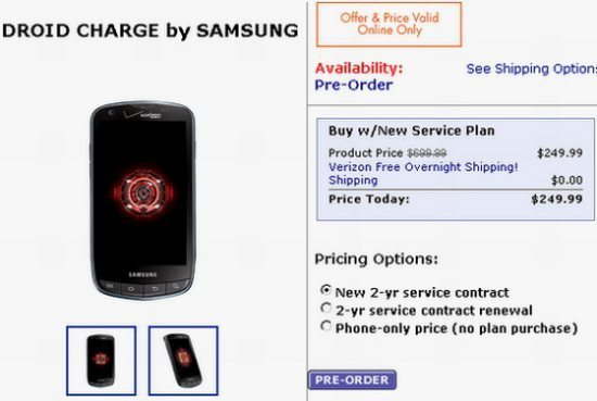 Samsung Droid Charge Walmart Prices Pre Order