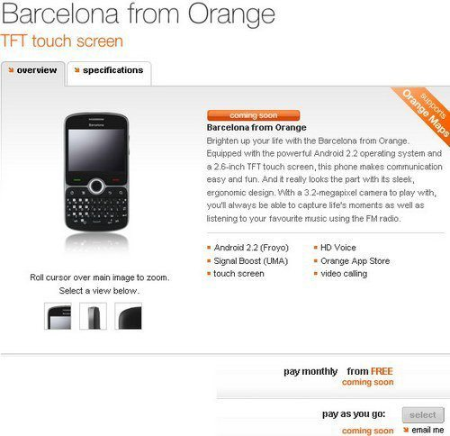 Android Froyo Barcelona Destined for Orange UK
