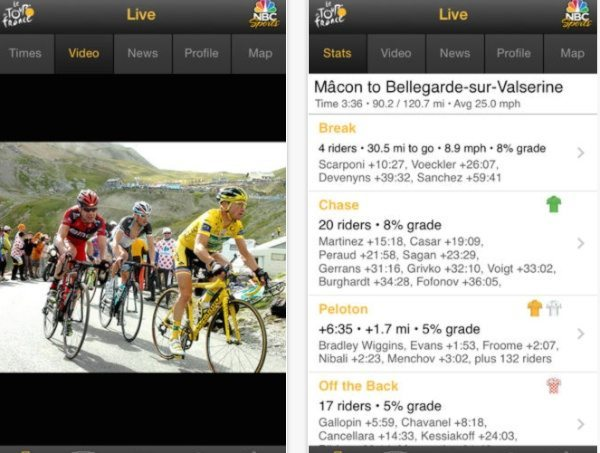 2014 Tour de France route by iOS app