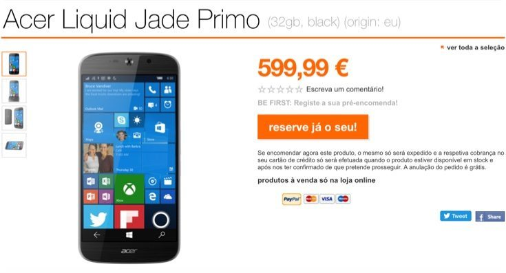 Acer Jade Primo pre-orders in Europe show steep price