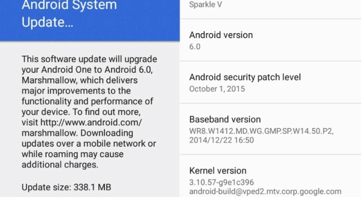 Android One Android Marshallow update