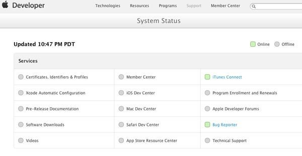 Apple-Developer-system-status-page
