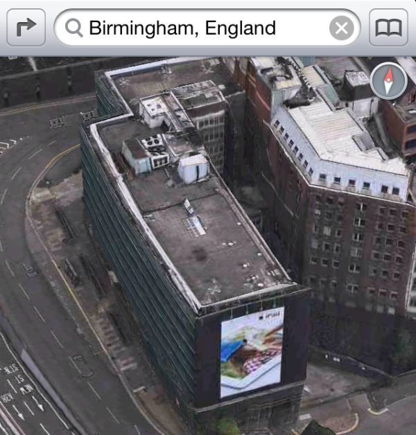 Apple using banner ad within 3D maps to advertise