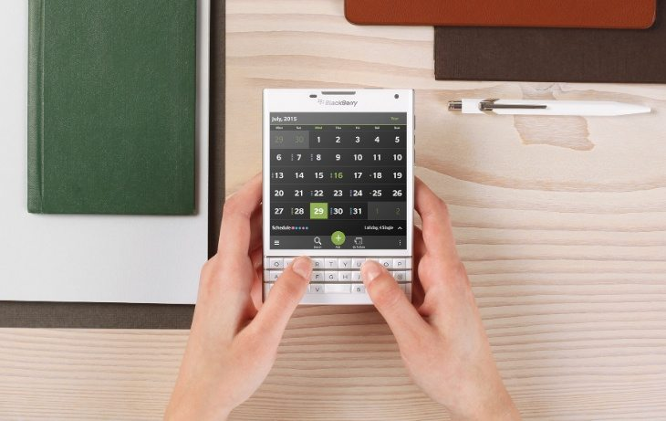BlackBerry Passport in white shown before release