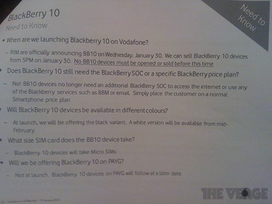 BlackBerry Z10 Vodafone UK Incredulous Release Date