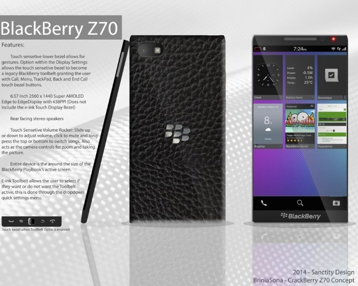 BlackBerry Z70 whopper phablet design